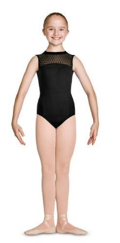 Mirella by Bloch Girls High Neckline Open Back Dance Leotard Spot Mesh M464C
